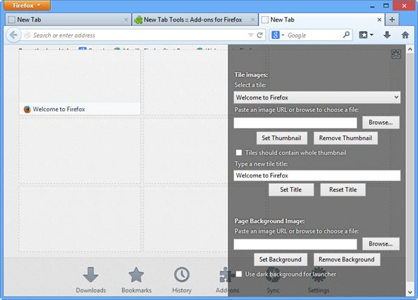Customize Firefox Background Using New Tab Extension