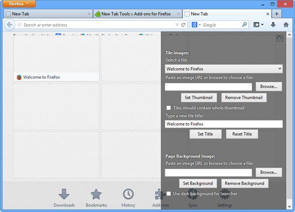 new tab tools firefox